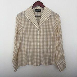 JONES NEW YORK collection plaid top tan white silk